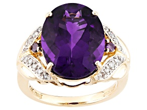 Purple Uruguayan Amethyst 14k Yellow Gold Ring 7.35ctw