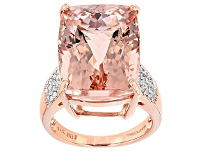 Pink Morganite 14k Rose Gold Ring 19.52ctw