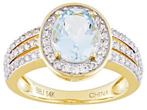 Blue Aquamarine 14k Yellow Gold Ring 1.98ctw