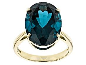 London Blue Topaz 14k Yellow Gold Ring 10.00ct