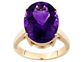 Purple Moroccan Amethyst 14k Yellow Gold Ring 6.18ct