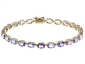 Blue Tanzanite 14k Yellow Gold Bracelet 9.18ctw
