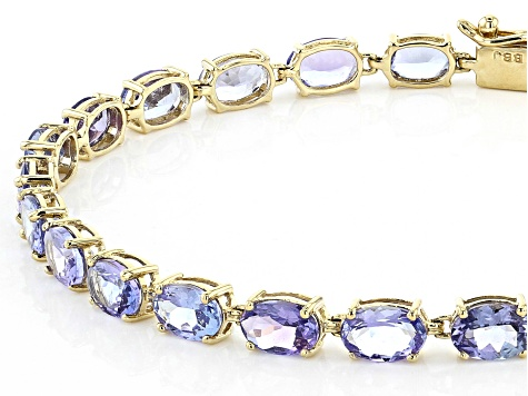 Blue Tanzanite 14k Yellow Gold Bracelet 9.18ctw