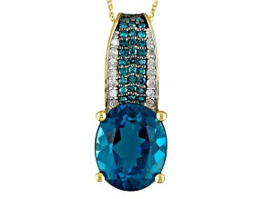London Blue Topaz 14k Yellow Gold Pendant With Chain 3.95ctw