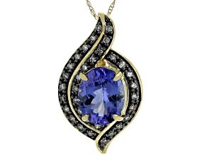 Blue Tanzanite 14k Yellow Gold Pendant With Chain 2.57ctw