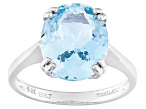Blue Aquamarine 14k White Gold Ring 3.65ct