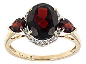 Red Garnet And White Diamond 14k Yellow Gold Ring 4.49ctw