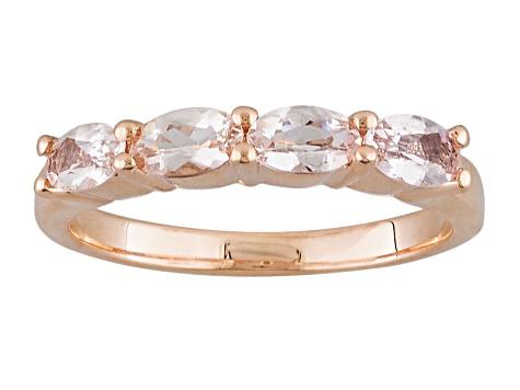 Pink Morganite 14k Rose Gold Band Ring 71ctw