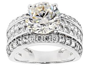 White Fabulite Strontium Titanate And White Zircon  14k White Gold Ring 7.87ctw