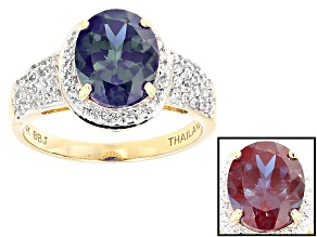 Color Change Lab Created Alexandrite 14k Yellow Gold Ring 2.98ctw