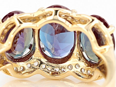 Color Change Lab Created Alexandrite 14k Yellow Gold Ring 4.63ctw