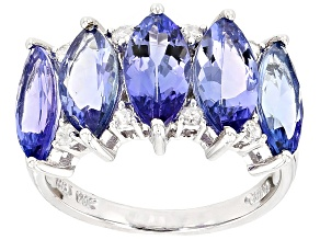 Blue Tanzanite 14k White Gold Ring 4.74ctw