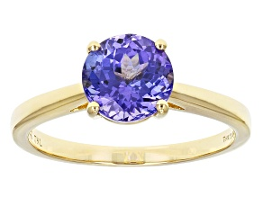 Blue Tanzanite 14k Yellow Gold Solitaire Ring 1.75ctw