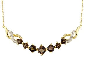 Brown Smoky Quartz 14k Yellow Gold Necklace 2.57ctw