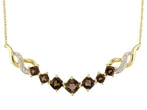 Brown Smoky Quartz 14k Yellow Gold Necklace 2.57ctw