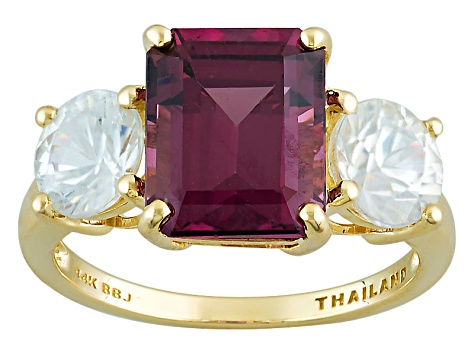 Grape Color Garnet 14k Yellow Gold Ring 6.24ctw