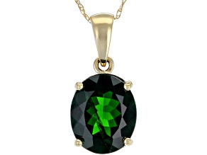 Green Chrome Diopside 14k Yellow Gold Pendant With Chain 3.08ctw