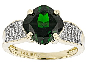 Green Chrome Diopside 14k Yellow Gold Ring 2.96ctw