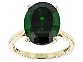 Green Chrome Diopside Solitaire 14k Yellow Gold Ring 5.88ctw