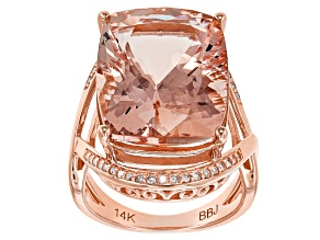 Pink Morganite 14k Rose Gold Ring 14.09ctw