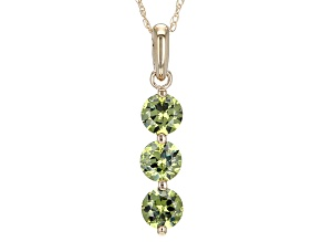 Green Demantoid 14k Yellow Gold Pendant With Chain .99ctw