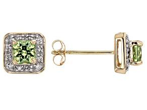 Green Demantoid 14k Yellow Gold Stud Earrings .68ctw
