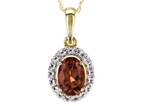 Orange Malaya Garnet 14k Yellow Gold Pendant With Chain 1.01ctw