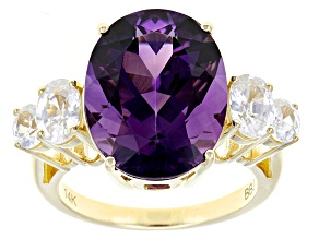 Purple Amethyst 14k Yellow Gold Ring 8.19ctw