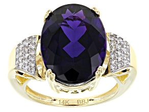 Purple Amethyst 14k Yellow Gold Ring 6.80ctw