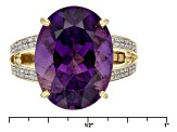 Purple Amethyst 14k Yellow Gold Ring 6.73ctw