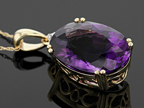 Purple Amethyst 14k Yellow Gold Pendant With Chain 8.92ctw