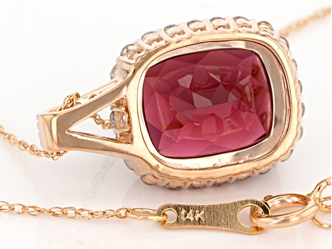Grape Color Garnet 14k Rose Gold Pendant With Chain 4.98ctw