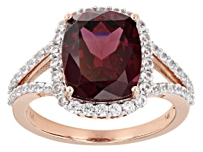 Red Rasberry Color Rhodolite 14k Rose Gold Ring 5.22ctw