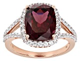 Purple Grape Color Garnet 14k Rose Gold Ring 5.22ctw