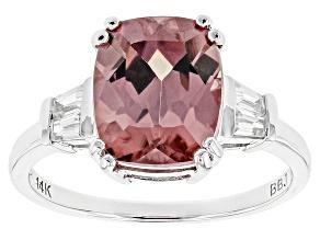 Pink Zircon 14k White Gold Ring 5.73ctw