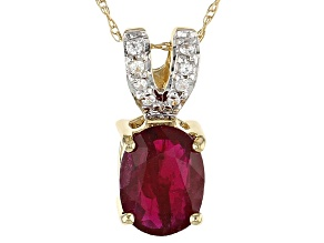 Red Ruby 14k Yellow Gold Pendant With Chain 1.42ctw.