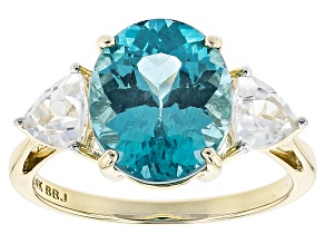 Blue Paraiba Color Apatite 14k Yellow Gold Ring 4.45ctw