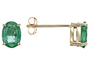 Green Zambian Emerald 14k Yellow Gold Stud Earrings 1.21ctw