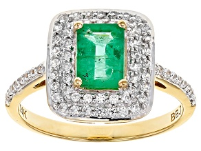 Green Zambian Emerald 14k Yellow Ring 1.14ctw