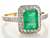 Green Zambian Emerald 14k Yellow Ring 1.50ctw
