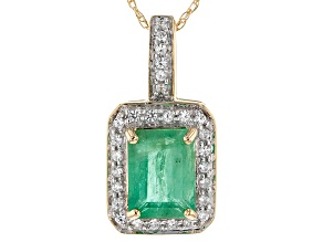 Green Emerald 14k Yellow Gold Pendant With Chain 1.46ctw