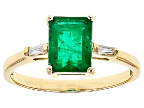 Green Zambian Emerald 14k Yellow Ring 1.27ctw