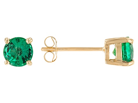 Green Zambian Emerald 14k Yellow Gold Stud Earrings .80ctw