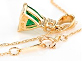 Green Emerald 14k Yellow Gold Pendant With Chain .63ctw