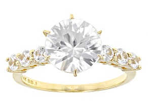 White Zircon 14k Yellow Gold Ring 3.80ctw