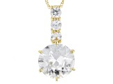 White Zircon 14k Yellow Gold Pendant With Chain 3.45ctw