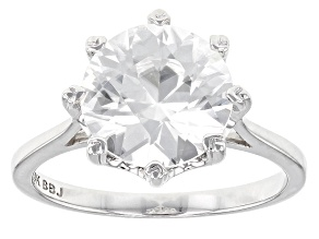 White Zircon 14k White Gold Ring 4.35ct