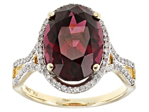 Grape Color Garnet 14k Yellow Gold Ring 8.32ctw