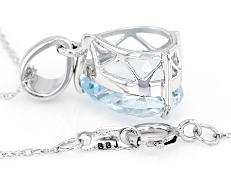Blue Nigerian Aquamarine 14k White Gold Pendant With Chain 3.60ct
