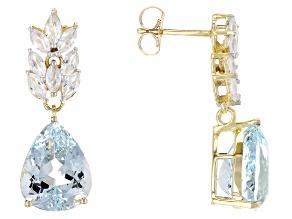 Blue Nigerian Aquamarine 14k White Gold Earrings 9.21ctw